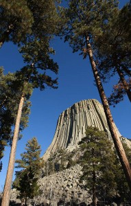Devil's Tower rises dramatically 1,267 feet above the surrounding landscape.