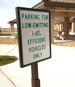 A Missouri Rest Area with special spaces for Eco Vehicles.  The Sorento's very good on both counts, so I should have taken one of the slots.