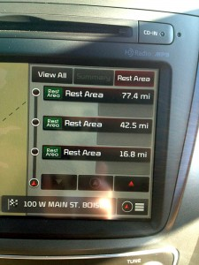 A great feature of the Sorento is a navigation system that points out mileages to the next available rest areas.