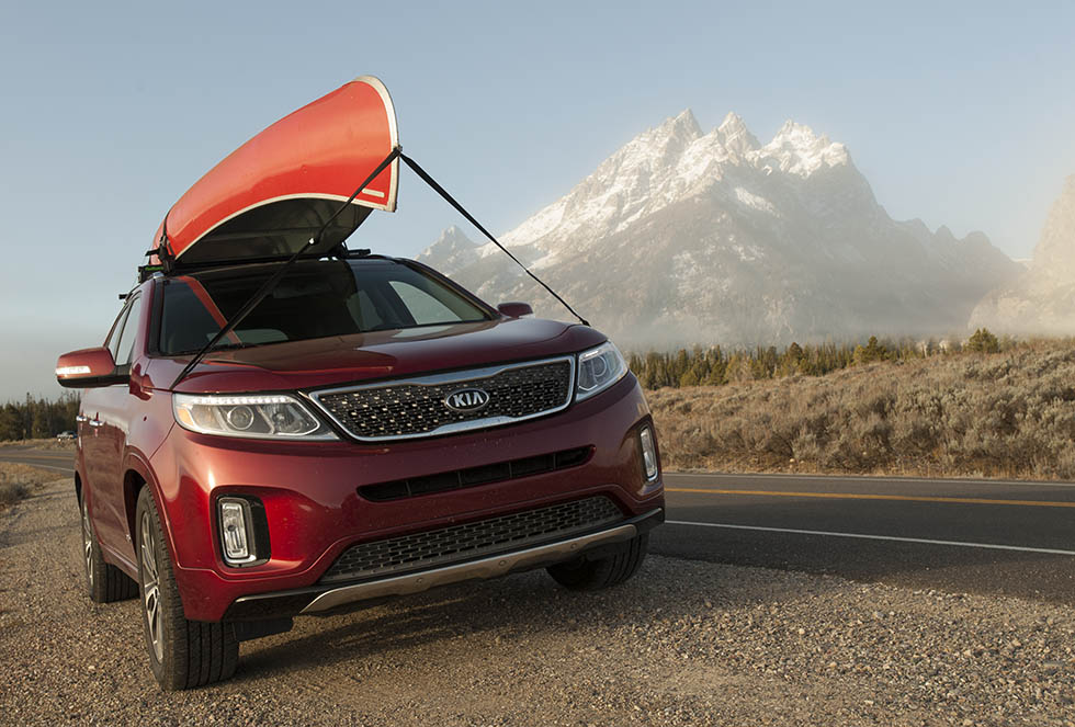 Great weather, great car, and great scenery.  The 2014 Kia Sorento in Grand Teton National Park.